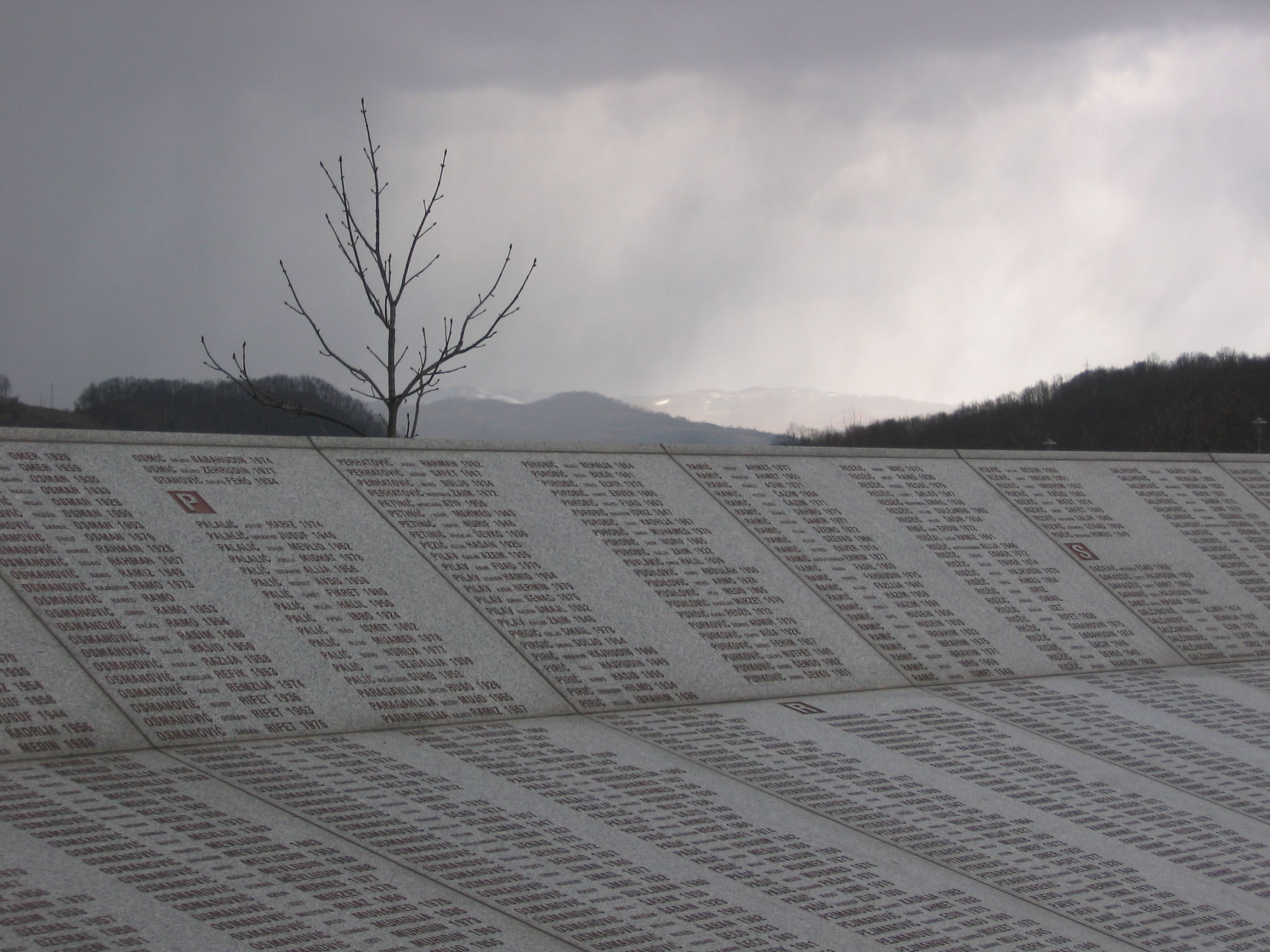 Wall of names at the Potočari genocide memorial near Srebrenica