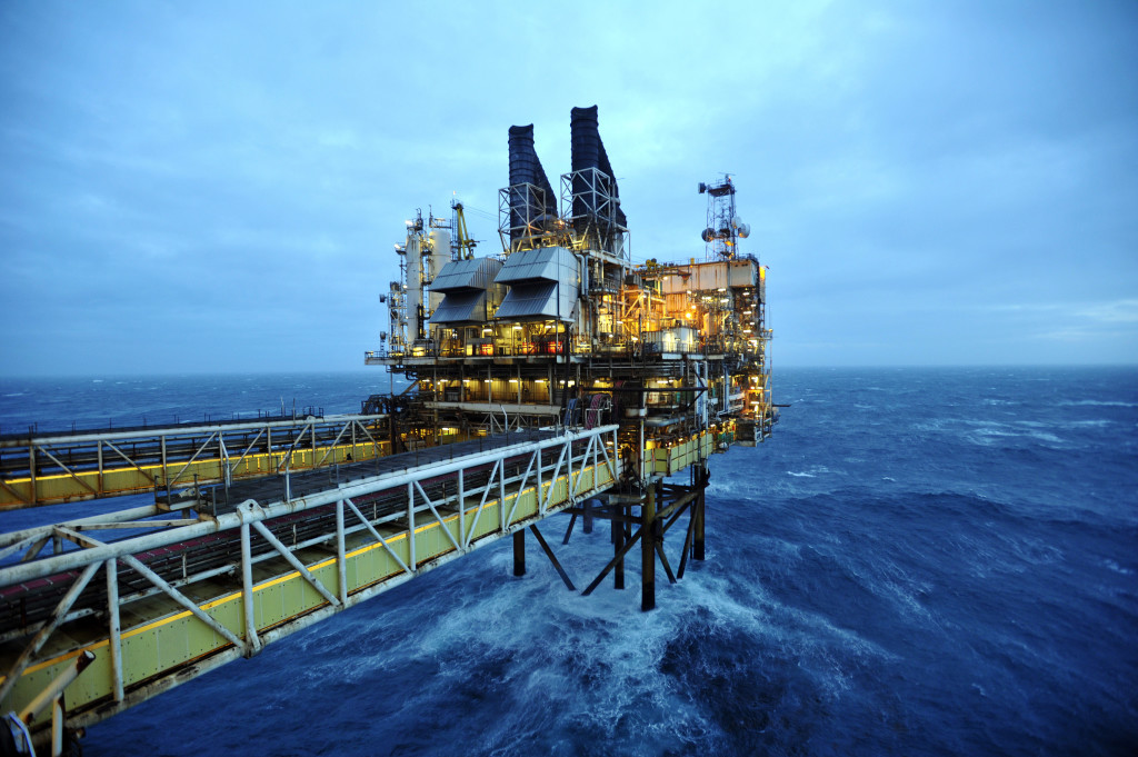 AT SEA - FEBRUARY 24: A general view of the BP ETAP (Eastern Trough Area Project) oil platform in the North Sea on February 24, 2014, around 100 miles east of Aberdeen, Scotland. The British cabinet will meet in Scotland for only the third time in history to announce plans for the country's oil industry, which it warns will decline if Scots vote for independence. The fate of North Sea oil revenues will be a key issue ahead of the September 18 referendum to decide whether Scotland will end its 300-year-old union with England, and is expected to be the focus of Prime Minister David Cameron's cabinet meeting.  (Photo by Andy Buchanan - WPA Pool/Getty Images)